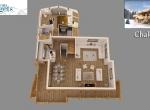 Plan de vente 3D du Chalet B Niveau 1