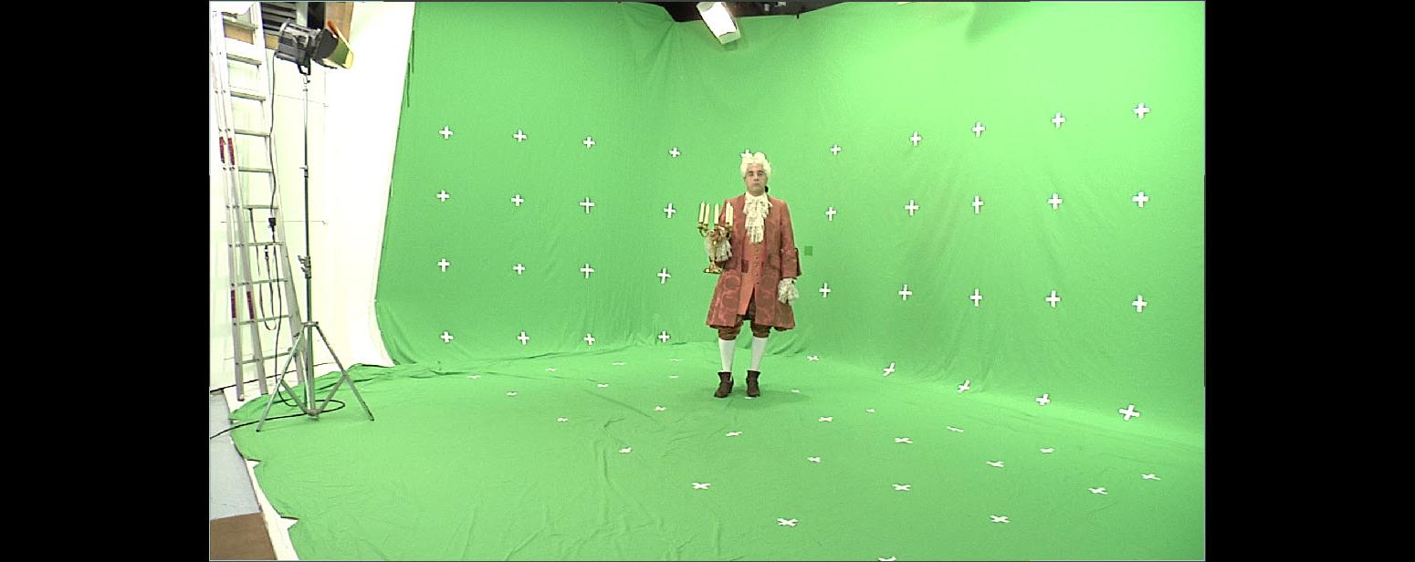 Tournage chez studio Cinestock. Tournage en HD , Incrustation en Chroma Key et Tracking 3D