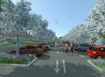 Le parking des amandiers, Perspective 3D la Coulée Verte à Carpentras - Après travaux