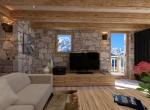 Salon 3D Perspective intérieur du Chalet Roc de Fer à Saint Martin de Belleville, client Promojay