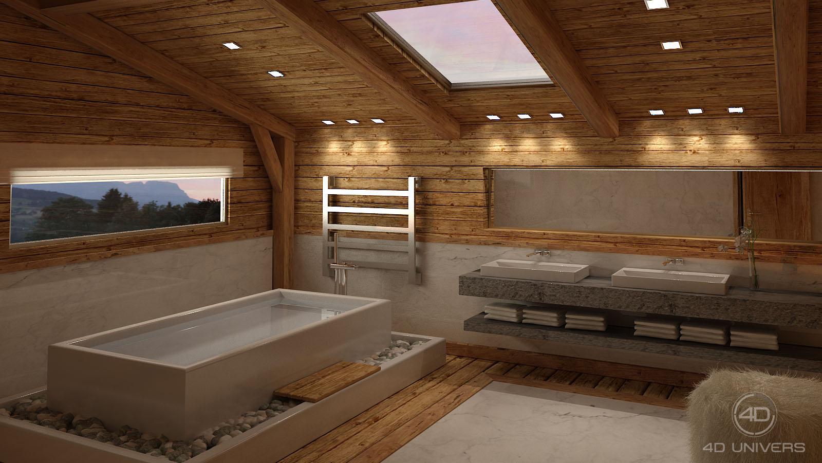 Aménagement Intérieur Salle Bain perspective 3d et décoration d'intérieur en image de